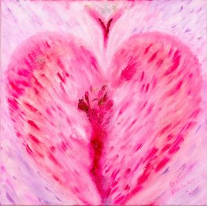 Suuri rakkaus 60*60 cm, öljy ja glitter.
